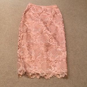 Ted Baker London  lace overlay pink skirt